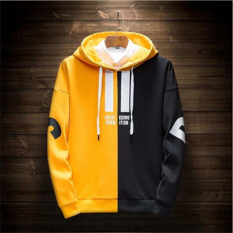 Men's Hoodies 2019 Spring Harajuku Japanese Streetwear Patchwork Casual Sweatshirt Letter Hoodies Male Hip Hop Yellow Hoodie Men