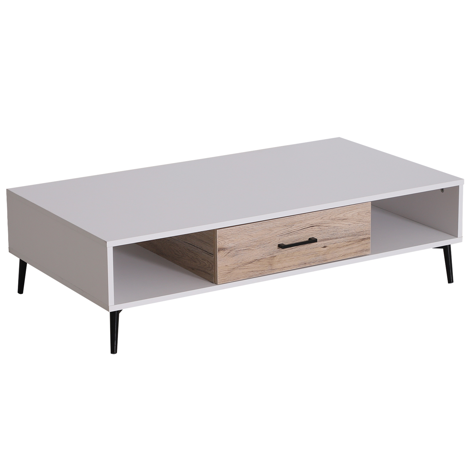 HOMCOM Coffee Table With Drawer And 2 Shelves Stems Metal For Living Room Living Room Wood 110x60x30 Cm White
