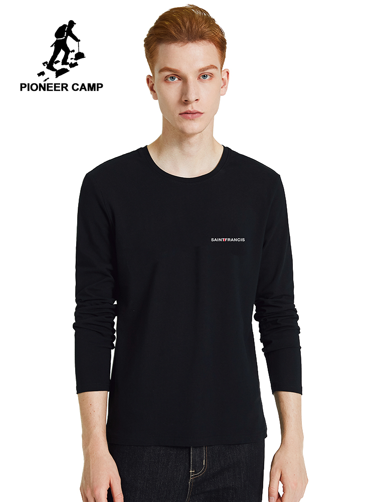 Pioneer Camp New Spring 100% Cotton T-shirts Mens Long  Sleeve Basic Solid Color Men's Top Tees 2020 ACT0101119