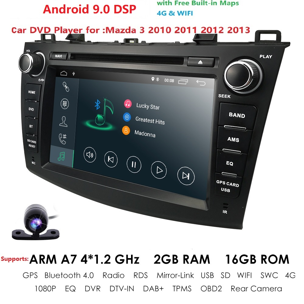 8 inch Android 8.1 Double din <font><b>Car</b></font> DVD Player GPS Navigation stereo <font><b>Radio</b></font> Can bus for <font><b>Mazda</b></font> <font><b>3</b></font> <font><b>2010</b></font> 2011 2012 2013 Remote control image