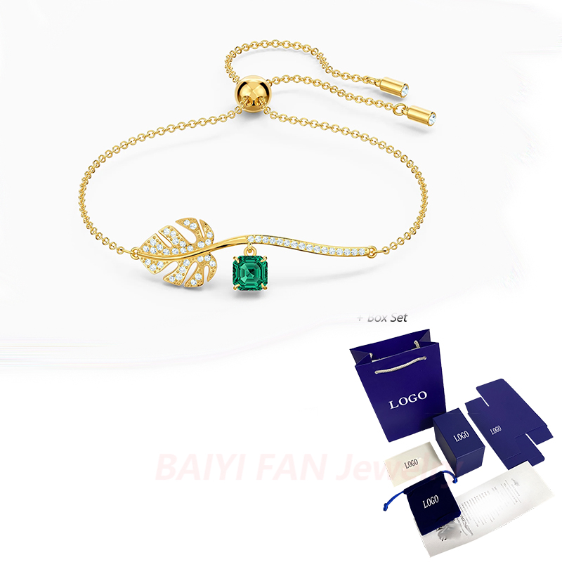 2020 SWA Fashion Jewelry New TROPICAL Bracelet Tropical Garden Golden Leaf Pattern Crystal Female Luxury Jewelry Romantic Gift