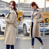 Women Spring Autumn Fashion Brand Korea Style 5 Solid Color Vintage Long Trench Coat Female Casual Double Breasted Trench Cloth