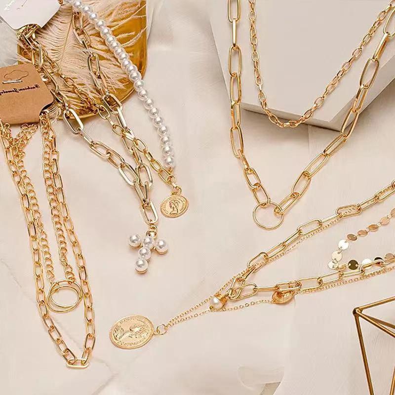 Новинка, винтажное золотое ожерелье-чокер на цепочке для женщин, модное многослойное металлическое ожерелье в стиле панк на цепочке, трендо...