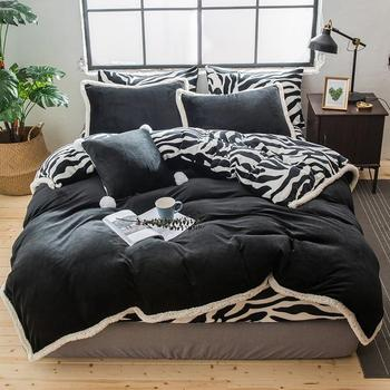 Ultra Soft Plush fluffy Duvet Cover Set Bed Sheet Pillow shams Zebra printed Purple Gray Bedding set Queen King size 4Pcs