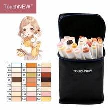 Touchnew 24 cores tons de pele conjunto arte marcadores caneta artista dupla headed álcool baseada manga escova caneta para colorir