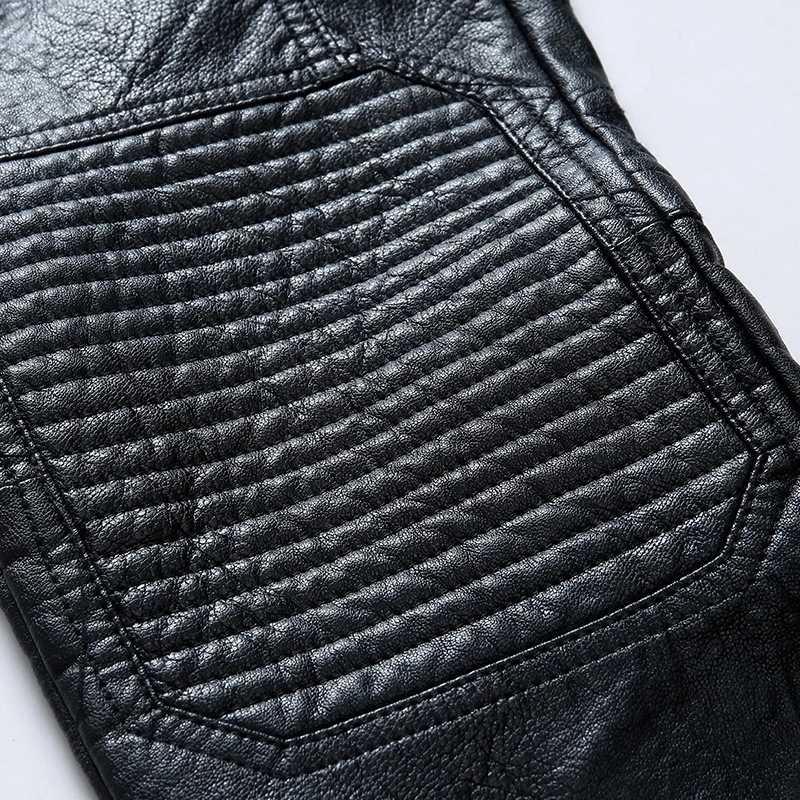 秋 2020 新韓国ファッションシープスキン革メンズパンツストレートスリムバイカーロングズボンストリート高品質パンツ男