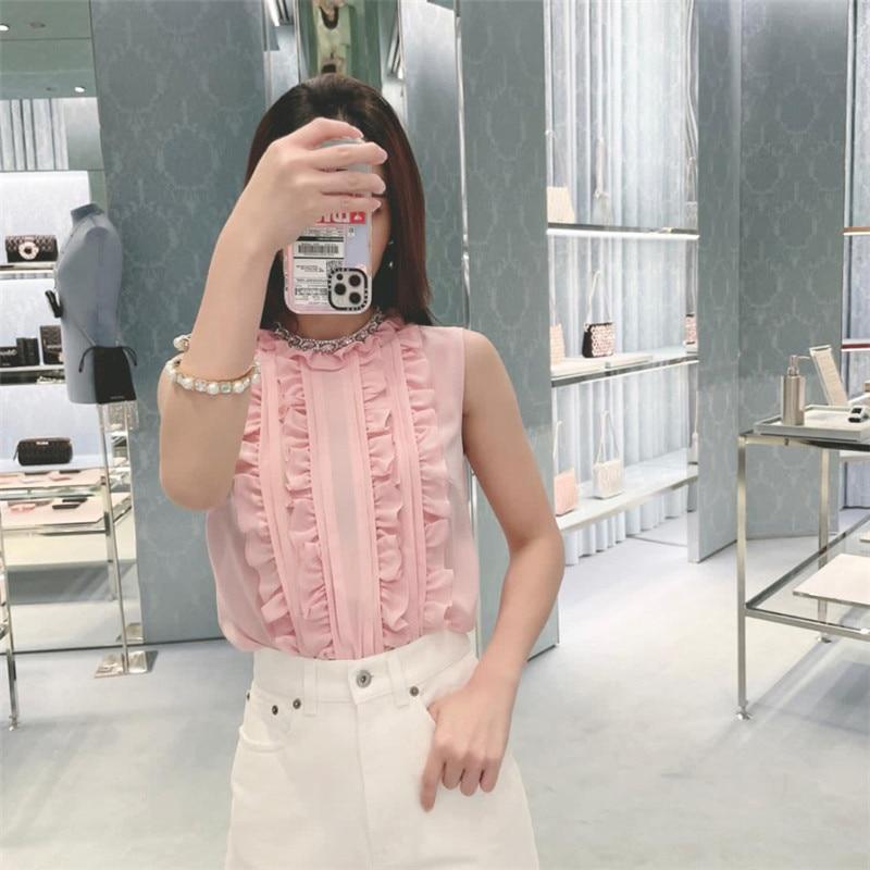 Miu 2021 Summer New French Sleeveless Silk Chiffon Shirt Pink Short Shirt Top