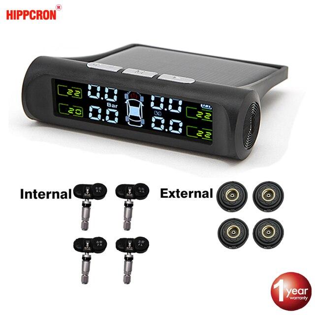 Hippcron TPMS czujnik alarmu ciśnienia w oponach Monitor systemu wyświetlacz samochodu wewnętrzne/zewnętrzne ostrzeżenie o temperaturze ładowania energii słonecznej