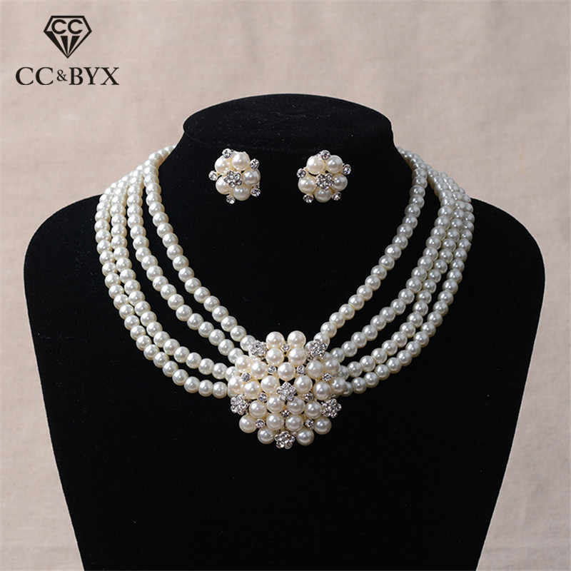 wedding accessories bridal jewelry beadwoven pearl collar and earrings White and gold pearl jewelry set romantic gift for her choker