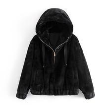 Manteaux noirs en fausse fourrure pour femmes, Streetwear, épais, à capuche, Chic, à la mode, 2020