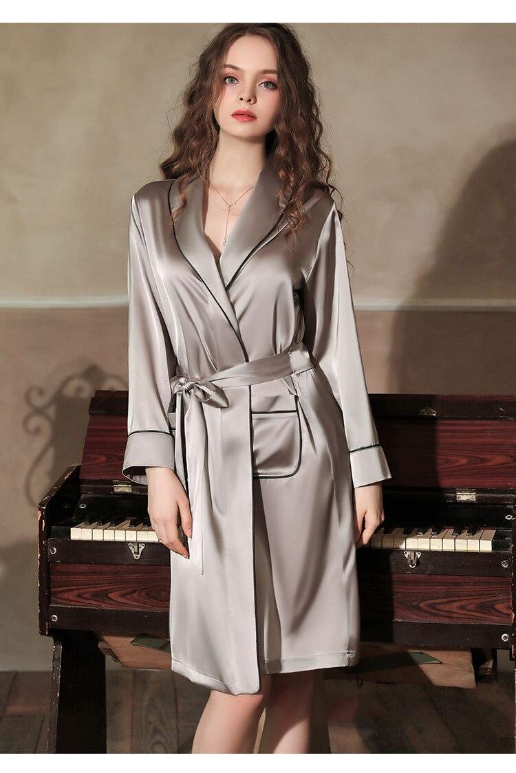 CINOON Satin Robe Female Intimate Lingerie Sleepwear Silky Bridal Wedding Gift Kimono Bathrobe Gown Nightgown Sexy Nightwear (11)