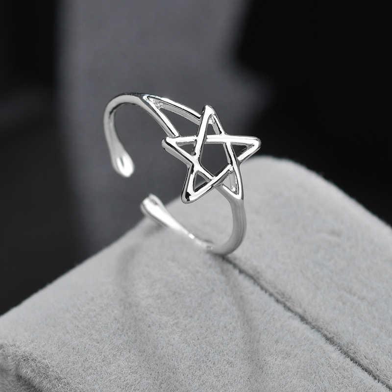 ง่ายปรับแหวนทองแดงโรแมนติกแปดแว่นตาดาวแหวนหัวใจสำหรับผู้หญิงแฟชั่นเครื่องประดับเครื่องประดับของขวัญ