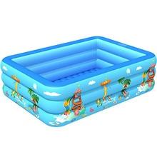 Cartoon Print Children Inflatable Pool 130cm 3layer Adult Pool Baby Tub Baby Home Use Paddling Pool Inflatable Square Swim Pool