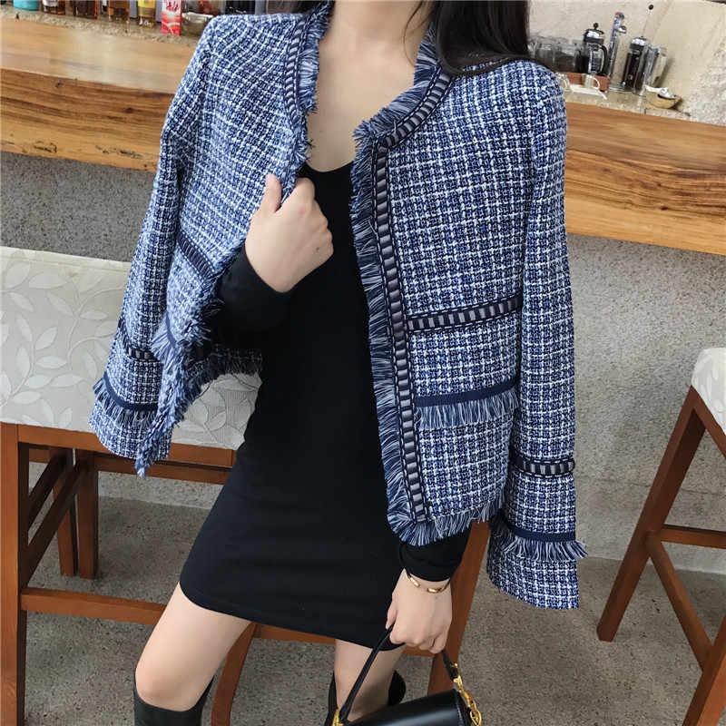 Plaid Inverno Donna Giacca 2019 Giacca di Tweed Autunno del Cotone di Inverno Chic Delle Signore Cappotto Lungo del Vestito di Modo di affari della Giacca Sportiva per Le Donne 83