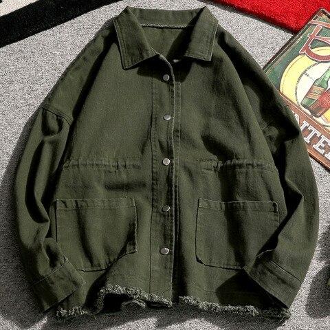 Spring New Jacket Men Fashion Washed Solid Color Casual Cotton Tooling Jacket Man Streetwear Wild Hip Hop Loose Bomber Jacket Multan