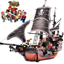 Pirate Ship Pirates Caribbean Black Pearl Ghost Ship Royal Fleet Captain Jack Model Building Block Educational Toys for Children new arrival gudi 9115 pirates of the caribbean series black pearl jack sparrow figure building block toys