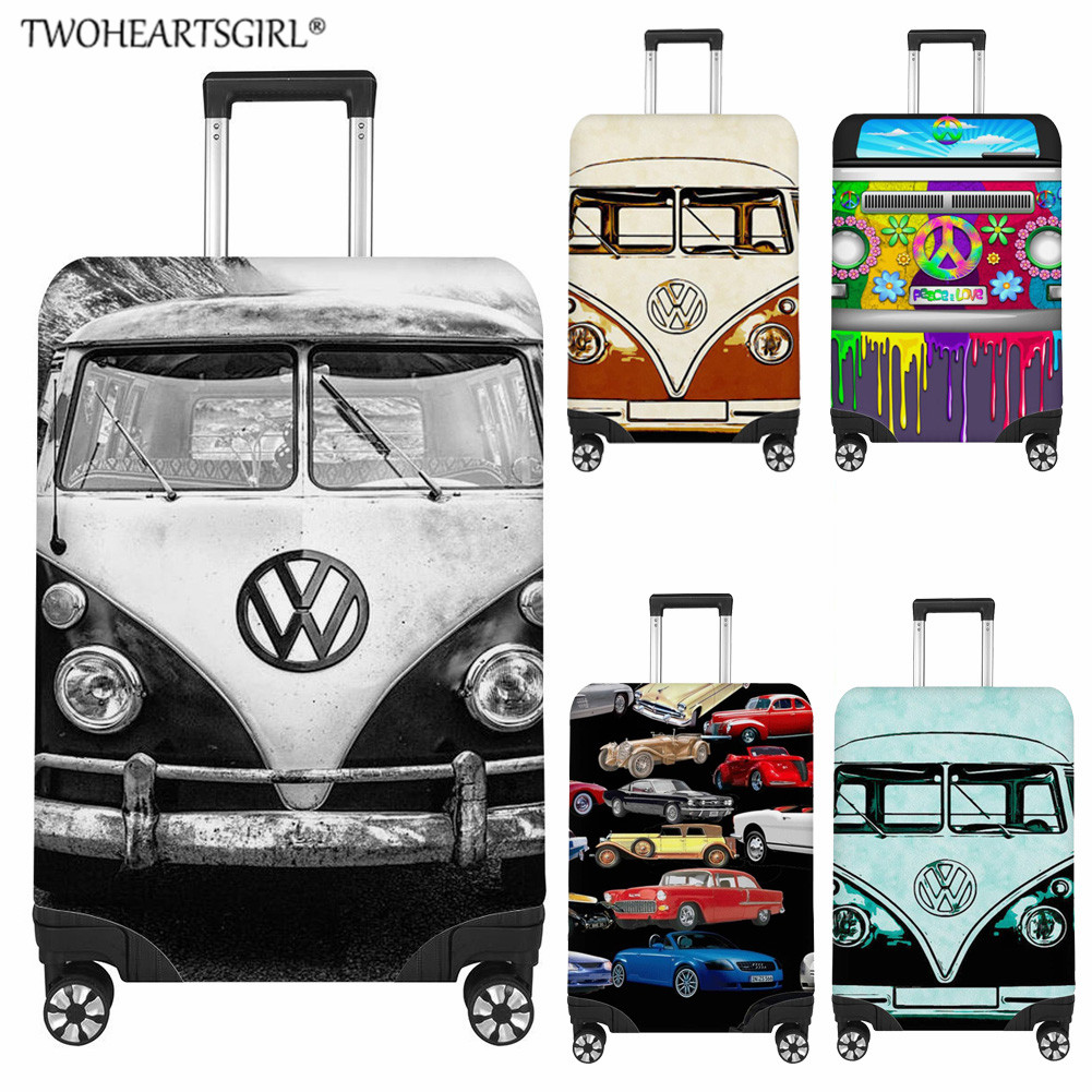 TWOHEARTSGIRL Travel Suitcase Protective Covers Cartoon Car Print Travel Accessories Elastic Luggage Cover Apply To 18-32inch