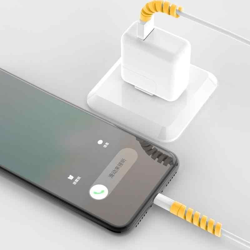 Spiral kablo koruyucusu veri hattı silikon bobin sarıcı koruyucu iPhone Android için USB şarj kablosu kulaklık kablosu