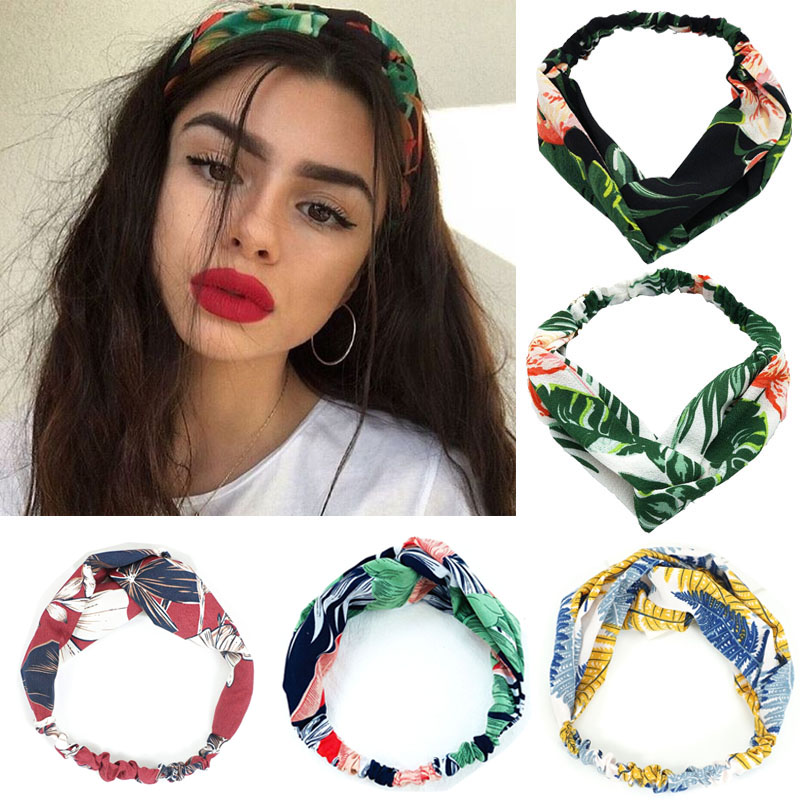 New Women Headband Fashion Girls Bohemian Printed Cross Hair Bands Vintage Turban Hair Ties Soft Bandanas Headwear Accessories