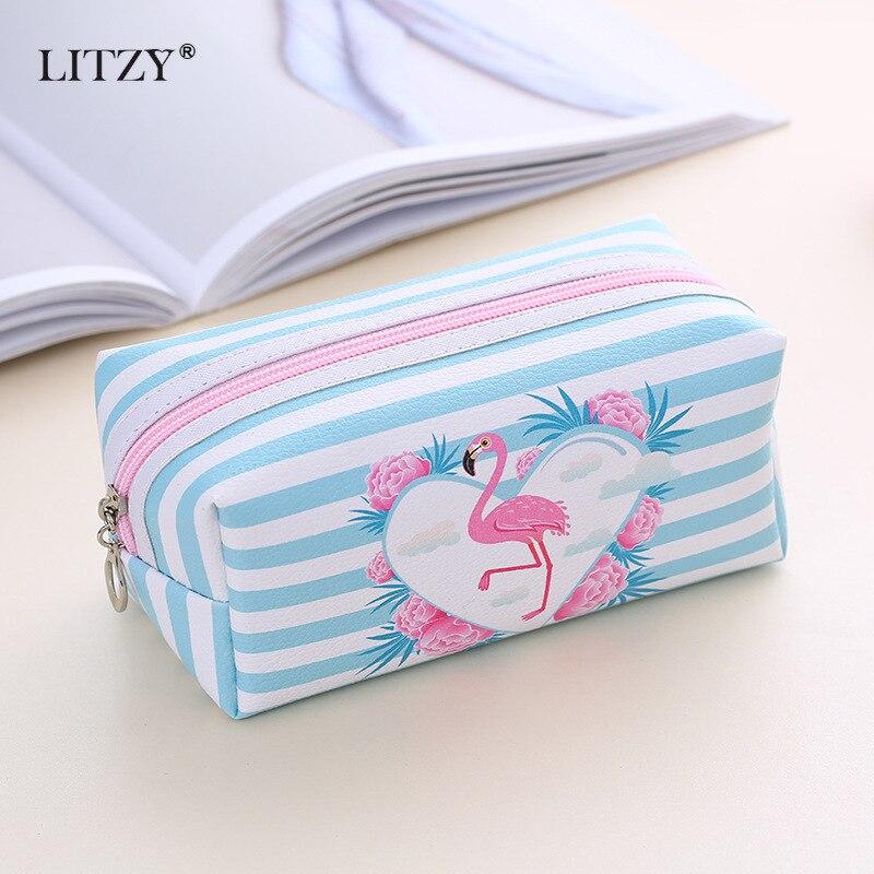 Flamingo Pencil Case School Cute Canvas Big Pencil Bag Box For Girls Cosmetic Bag School Supplies Stationery Pencilcase Gift