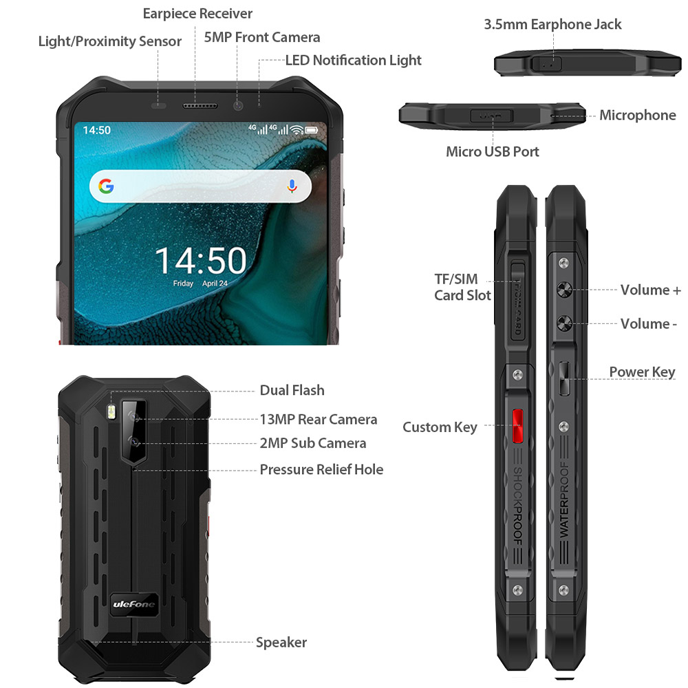 Ulefone Armor X5  Android 10 Rugged Waterproof  Smartphone IP68 MT6762 Cell Phone 3GB 32GB Octa core NFC  4G LTE Mobile Phone 3