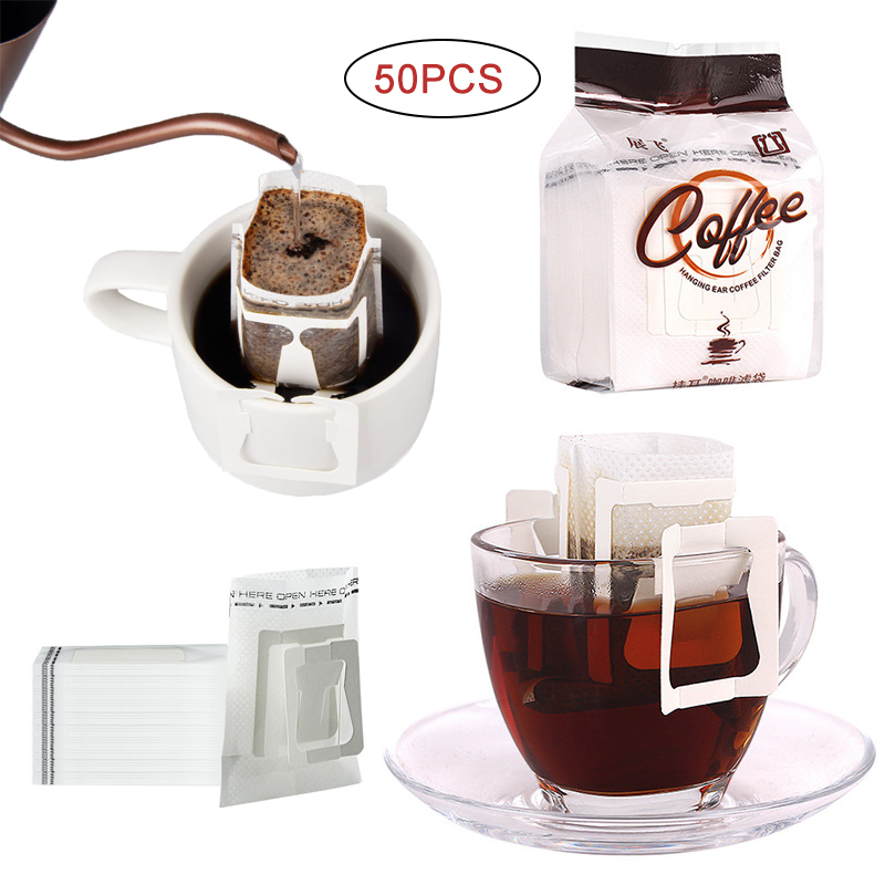 50Pcs/Pack Disposable Coffee Fliter Bags Portable Hanging Ear Style Coffee Filters Eco-Friendly Paper Bag For Espresso Coffee