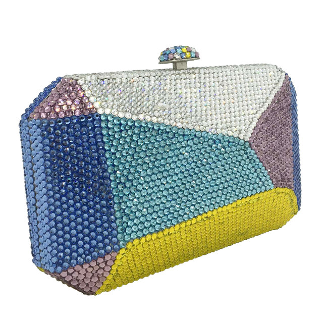 Multicolored Geometric Pattern Crystal Evening Clutch  2