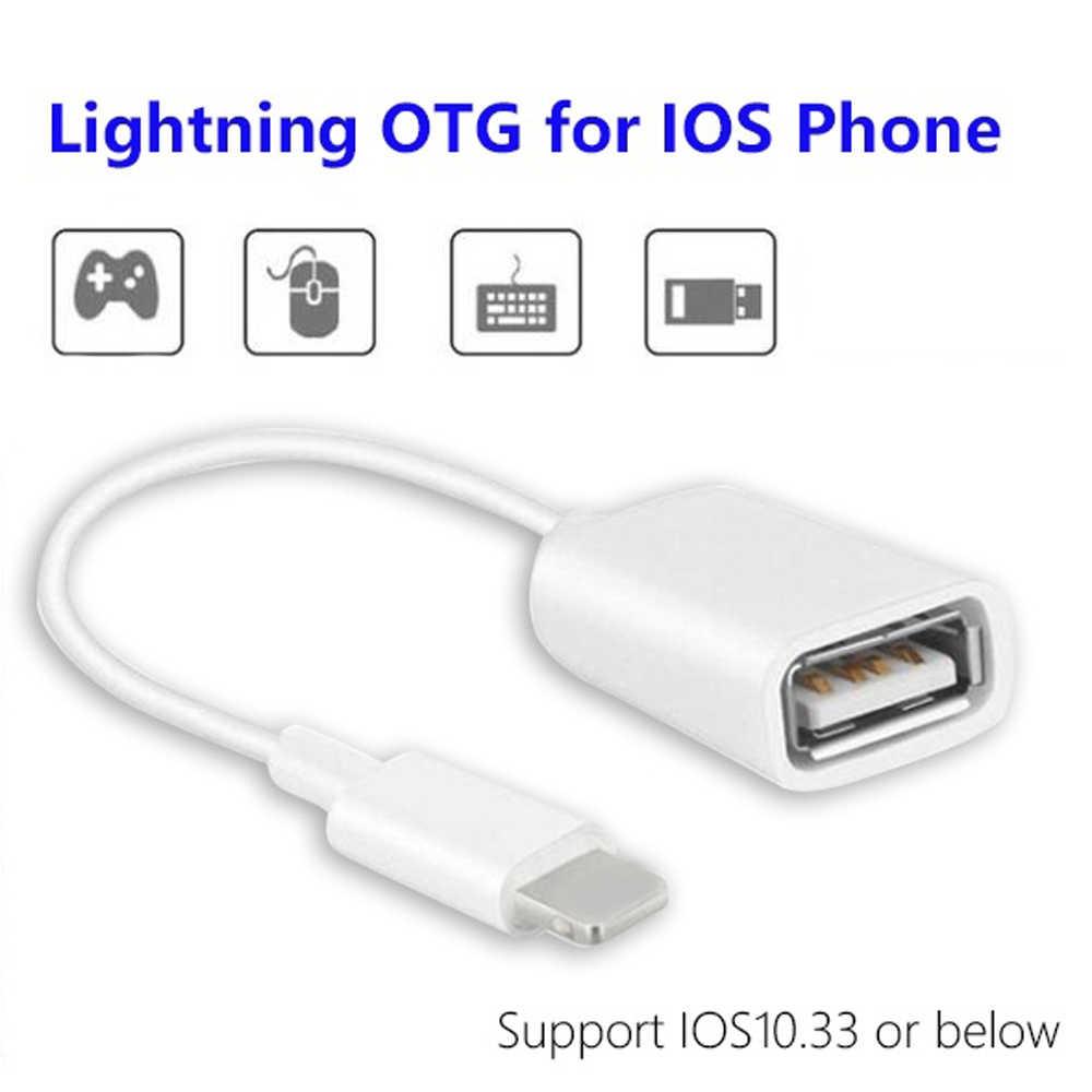 1Pcs OTG Adaptor Kabel 8 Pin Male untuk USB 2.0 Female Adaptor untuk Kamera Iphone Keyboard Memori Kartu reader