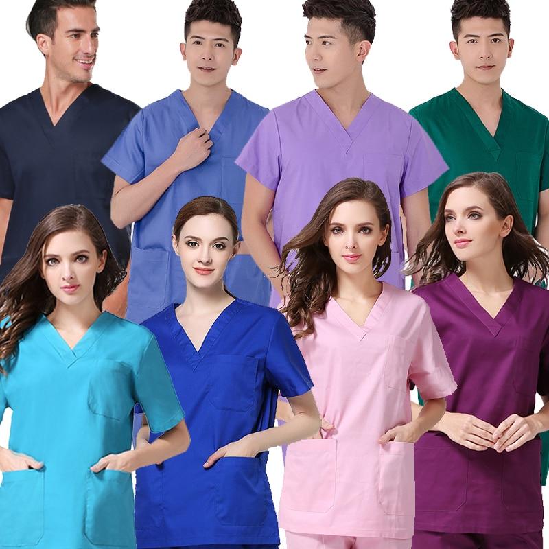 Men Women Pure Cotton Scrub Top Doctor Nurse Uniforms Medical Clothing Classic V-neck Short Sleeve Shirt ( Just A Top)
