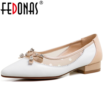 FEDONAS New Elegant Women Cow Leather Shoes Mixed Colors Mesh Butterfly Knot Rhinestone Pointed Toe Low Heel Shallow Shoes Woman