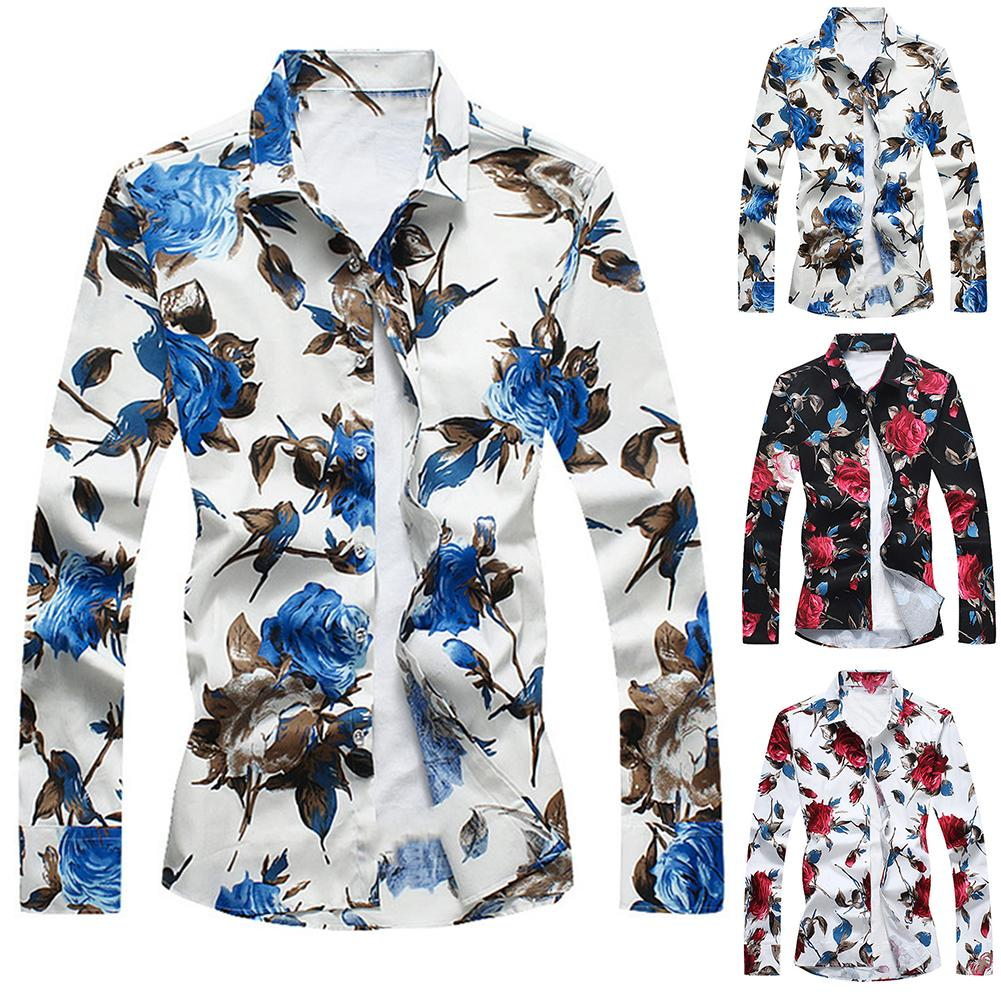 Hawaiian Shirts For Men Plus Size Shirts Men Dress Flower Print  Shirt Turn Down Collar Long Sleeve Shirts Men Male Tops Camisa