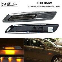 Năng Động F10 Phong Cách LED Bên Cột Mốc Đèn LED Tín Hiệu Khói + 3D Carbon Kết Thúc Cho Xe BMW E60 E61 e82 E88 E90 E91 E92 E93