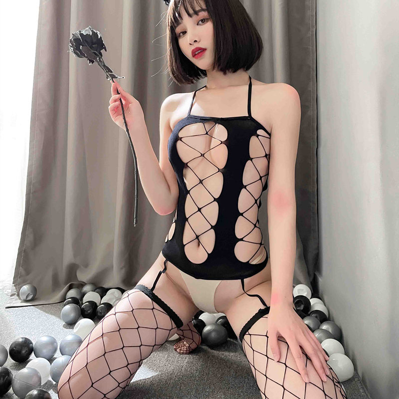 Sexy Lingerie Women's erotic sex Open back mesh stockingsTemptation Open Mesh Bodysuit Stockings slutty clothes erotic lingerie
