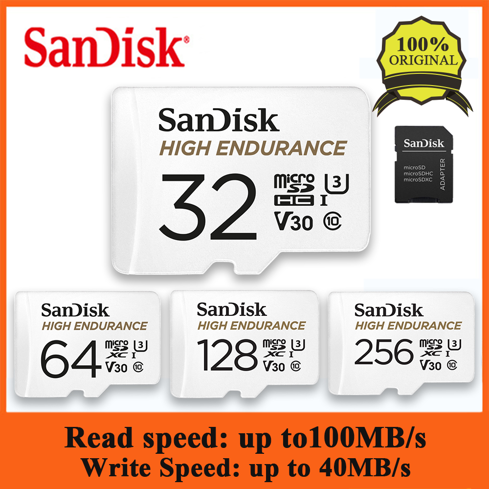 SanDisk HIGH ENDURANCE MicroSD Card 128GB U1 TF Memory Card Up To 100MB/s 32GB 64GB 256GB Class 10 Video Speed U3 V30 Full HD 4K