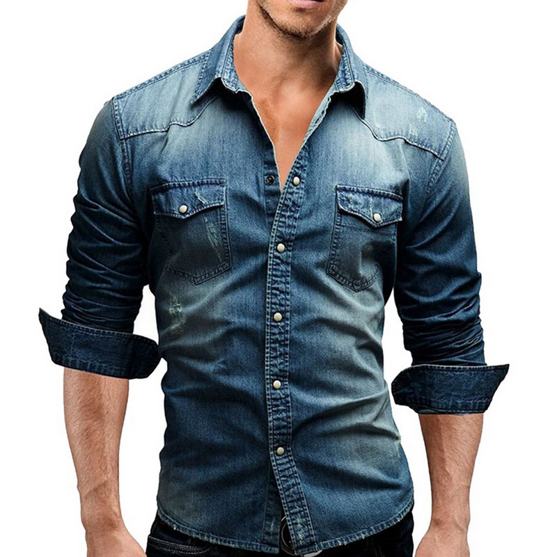 Denim Shirt Men Cotton Jeans Shirt Fashion Autumn Slim Long Sleeve Cowboy Shirt Stylish Wash Slim Tops Asian Size 3XL