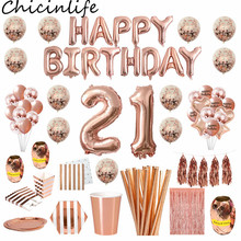 Chicinlife 21st Birthday Party Decor Rosegold Happy Birthday Foil Balloon Popcorn Box Adult 21 Years Old Birthday Party Supplies