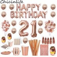 Chicinlife 21st doğum günü partisi dekor gül altın mutlu doğum günü folyo balon patlamış mısır kutusu yetİşkİn 21 yaşında doğum günü parti malzemeleri