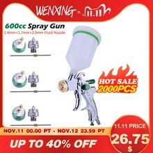 WENXING G2008 Professionelle HVLP 600ML 1.4/1.7/2,0mm Düse Schwerkraft Luft Farbe Spay Gun Für Auto auto Reparatur Werkzeug Malerei Kit