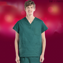 Mens Basic Scrub Set Classic V Collar Short Sleeve Top + Elastic Waistline Pants Pure Cotton Surgery Suit Medical Uniform