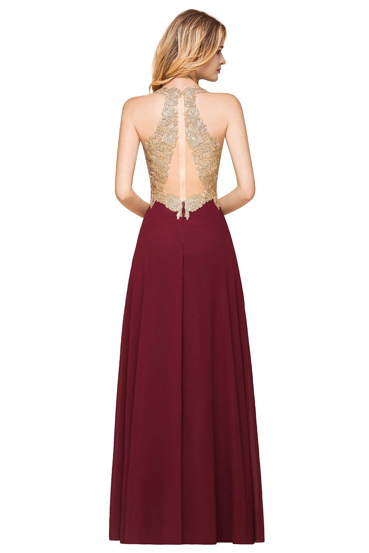 Long Burgundy Chiffon Bridesmaid Dresses Pink Navy Blue Wedding Party Guest Gown 2020 Lace Applique robe demoiselle d'honneur