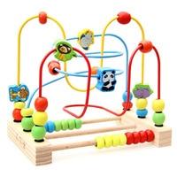 Saors Children Wooden Bead Rack Toy Educational Early Childhood Large Beaded Bracelet Bead stringing Toy Animal Fruit Building B