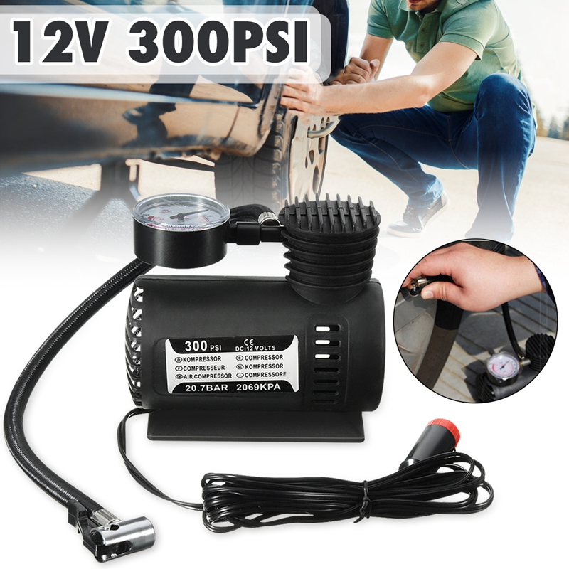 300 Psi 12V Portable Car Tire Inflator Mini Air Compressor Football Basketball Electric Pump Balloon Swimming Ring Air Pump