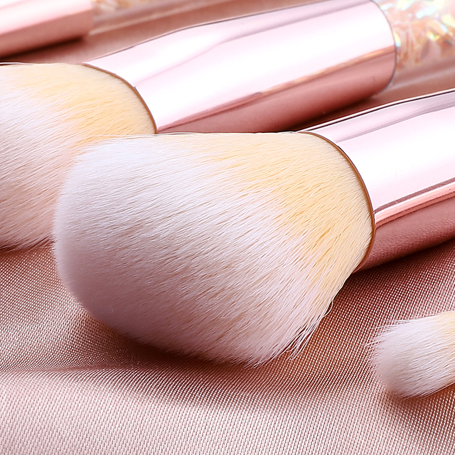 FLD 7 Pcs Unicorn Glitter Makeup Brushes Set Diamond Crystal Handle Powder Foundation Eyebrow Eyeliner Face MakeUp Brush Set 5