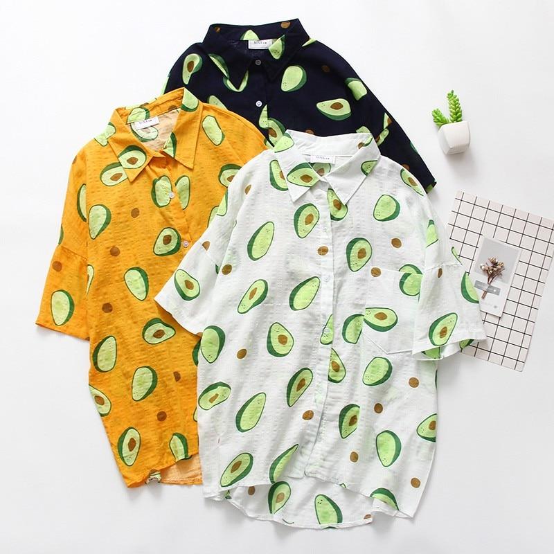 Casual Short Sleeve Loose Blouse Women Print Turn-down Collar Shirt Girls Summer Cute Shirt Hot Sale