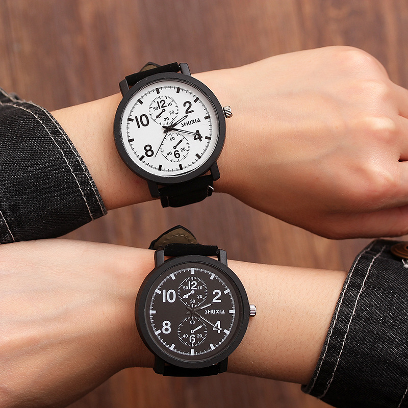 Couples Watch 2&4&8&10 Scale Leather Quartz Watch Mens Ladies Fashion Sport Clock Men's Watches Women's Watches Lovers Gifts
