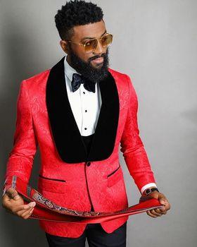 JELTONEWIN Red Floral Men 3 Piece Suit Wedding Tuxedos Shawl Lapel Bridegroom Groomsmen Suits Business Party Prom Blazer