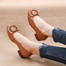 Pumps Women Shoes Square Toe Low-Heel Round Shallow Slip-On OUKAHUI for Buckle
