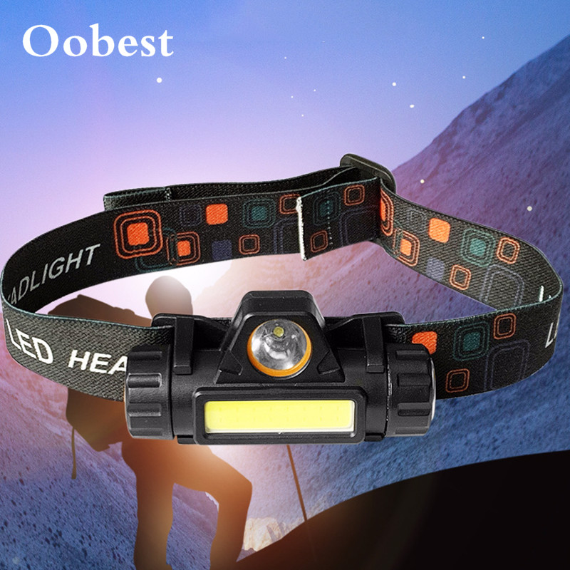 Mini COB LED Headlamp USB Rechargeable Zoom T6 Flashlight Waterproof Fishing Headlight Camping Light Built-in Lithium Battery