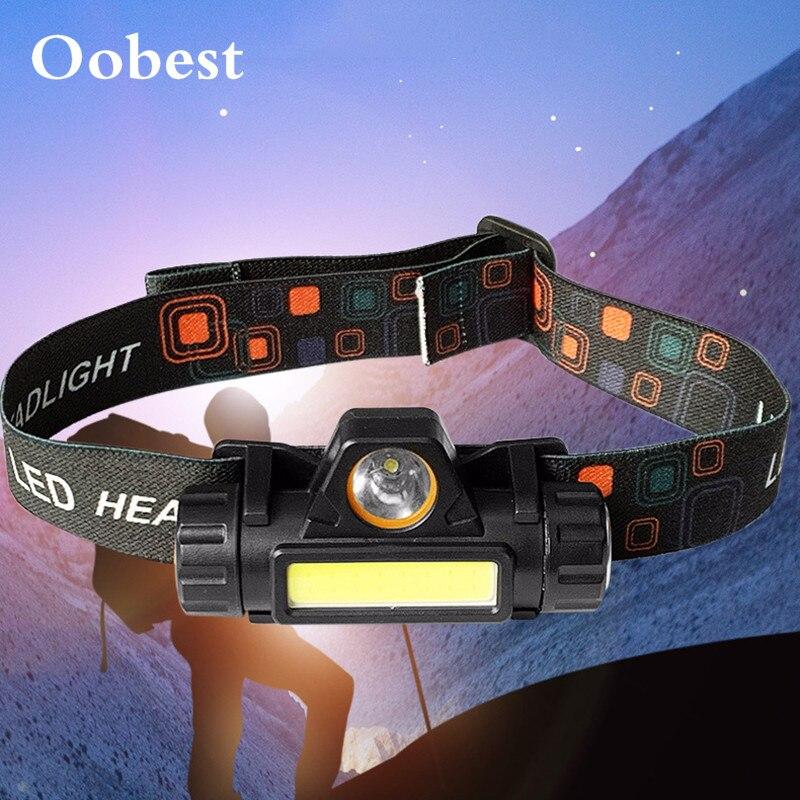 Mini COB LED Headlamp USB Rechargeable Zoom T6 Flashlight Waterproof Fishing Headlight Camping Light Built-in Lithium Battery
