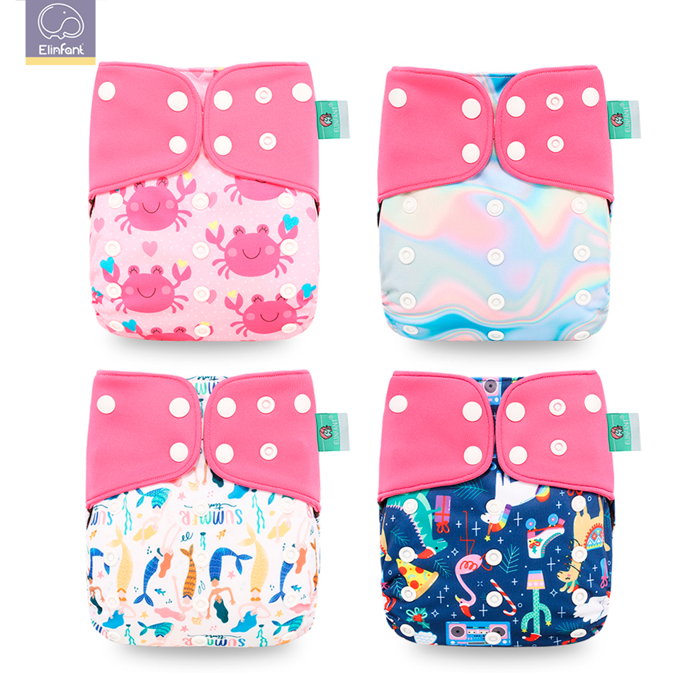 Elinfant New 4pcs/set Baby Nappy Washable Coffee Mesh Cloth Diaper Cover Adjustable Baby Nappy Reusable Cloth Pocket Diapers